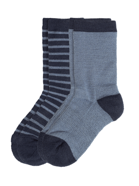 Wool Sock Kids 2-p Blå