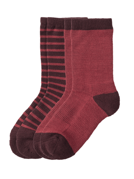 Wool Sock Kids 2-p Vinröd