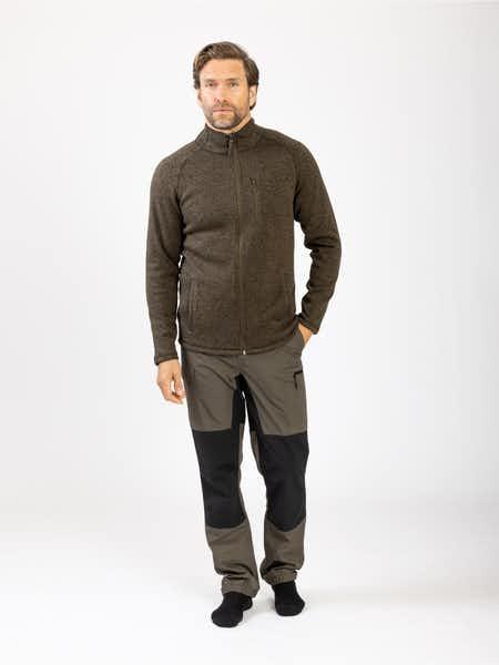 Knitted Fleece Men Grönmelange